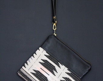 Black Boho Clutch.  Black Leather Wristlet. Tribal Bag. Boho Bag.