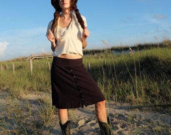 Prarrie Button Up Wanderer Short Skirt - ( light hemp and organic cotton knit ) - organic cotton and hemp skirt