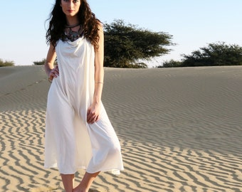 Organic Dress - Float Neck Racer Back Tank Wanderer Below Knee Dress ( organic tissue cotton knit )