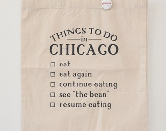 Chicago silkscreen tote bag foodie tote