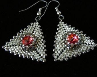 Peyote Earrings, Silver Earrings, Evening Jewelry, Beaded Earrings, Crystal Rivoli, Bridal, Wedding, Drop Earrings