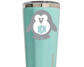 Grey Penguin and Mint Initial Decal!  Penguin Decal Car, ice chest, yeti tumbers, rtic tumblers, children items.  Virtually Any Surface!!