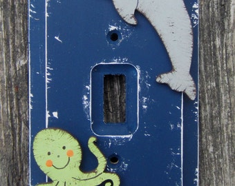 Under The Sea  Kids Switch Plate Cover - Hand Painted Wood