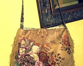 RESERVED fo SUE Pretty velvet  fringe bag with applique flowers