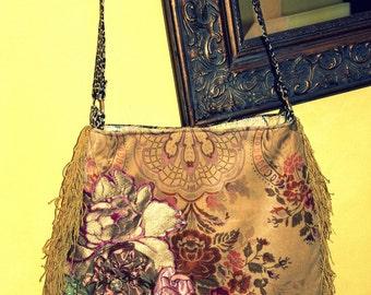Pretty velvet  fringe bag with applique flowers