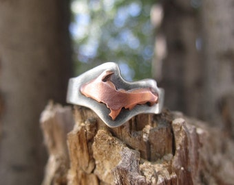 Darkened Mixed Metal Upper Peninsula of Michigan Profile Ring