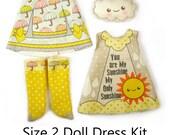 KIT Size 2: Doll Dress Clothing Kit My Sunshine pattern for small dolls