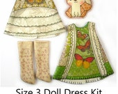 Lati Yellow Dress KIT Size 3: Doll Dress Clothing Kit Butterfly Catcher pattern for small dolls