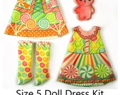 KIT Size 5: Doll Dress Clothing Kit Candy pattern for dolls