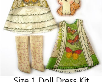 Lati White Dress KIT Size 1: Doll Dress Clothing Butterfly Catcher for Tiny Dolls