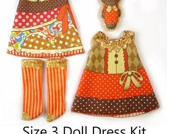 Lati Yellow Dress KIT Size 3: Doll Dress Clothing Kit Autumn Costumes pattern for small dolls