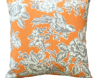 Bird and Blossoms in tangerine and grey outdoor cushion cover