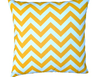 Citrus Yellow and White Chevron Zig Zag Geometric Outdoor Cushion Cover