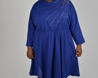 Vintage Size 26 Purple Plus Size 1980s Dress