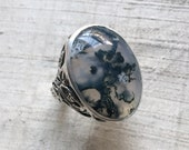 Moss Agate and Sterling- Serpentine Leaf Ring