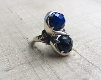 Marchesa Ring- Lapis and Black Onyx in Sterling