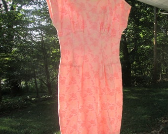 Vintage Pink Embroidered Cotton Dress - Jack Squire Original - 1950s
