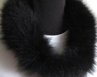 SALE #Fur Cowl #Black #Soft #Winter Fashion # Real Fur Long Fibers #Elegant High Fashion Accessory