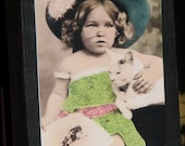 Primitive Style Standing Wood Block Cute Little Girl Playing Dress Up With Her Kitty Cat