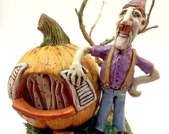 ON SALE | Sculpey figurine | nic nac | nursery rhyme | SALE | Polymer clay |  Fimo | Peter Pumpkin Eater |  shower gift | Sculpey | Wife