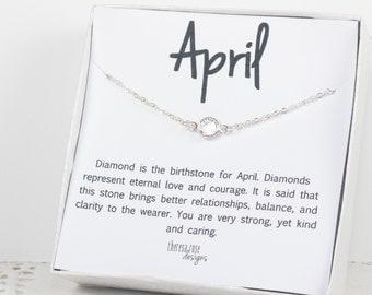 April Birthstone Swarovski Birthstone Necklace, April Birthstone Silver Necklace, Clear Silver Necklace, Birthstone Jewelry, Gifts Under 20