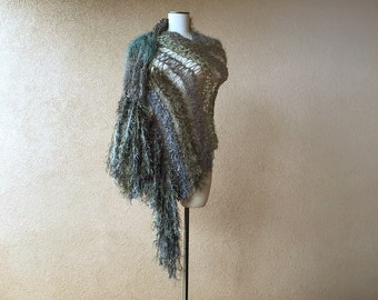Grey and Green Shawl with Fringe Long Shawl Green and Grey Shawl Fairy Shawl Wrap Irish Celtic Khaki Green Shawl