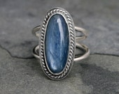 Midnight Blue Kyanite Sterling Silver Statement Ring, Deep Blue Water, Double Ring Band, Made to Order in Your Size, Handmade Jewel Gemstone