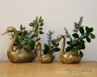 Set of three vintage brass swan planters. Holiday table centerpiece