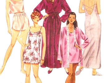 Robe Nightgown Camisole shorts 90s Vintage Sewing pattern Lingerie McCalls 7450 UNCUT SZ XS to Medium Brides Honeymoon