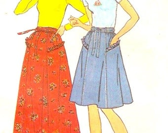 70s midi skirt or knee length and top retro Boho style vintage sewing pattern Simplicity 7232 Bust 34 UNCUT