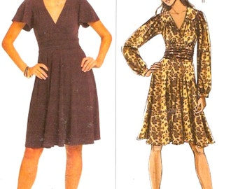 Chic Knit Dress Sewing pattern Maggy London designer cocktail or day dress Butterick 5243 Size 8 to 14 Uncut