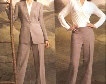 Womens designer suit Anne Klein jacket top pants sewing pattern UNCUT Vogue 2759 Bust 34 to 38 Uncut