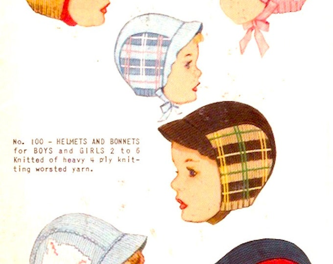 50s Kids Hats Childrens Vintage Knit O Graf No 100 Hat Dog Tartan Duck Kitten Toy Graph knitting Pattern Craft supply how to