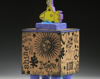 Box, Handmade Box, Yellow Submarine, Beatles, Peace, Flower girl, Keepsake box