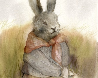 "Rabbit Art- Rabbit painting, watercolor rabbit  ""The Highlands""-  print - Illustrious Forest Collection"