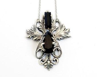 Gothic Necklace victorian necklace silver pendant Black swarovski necklace gothic jewelry fleur de lys silver filigree gift