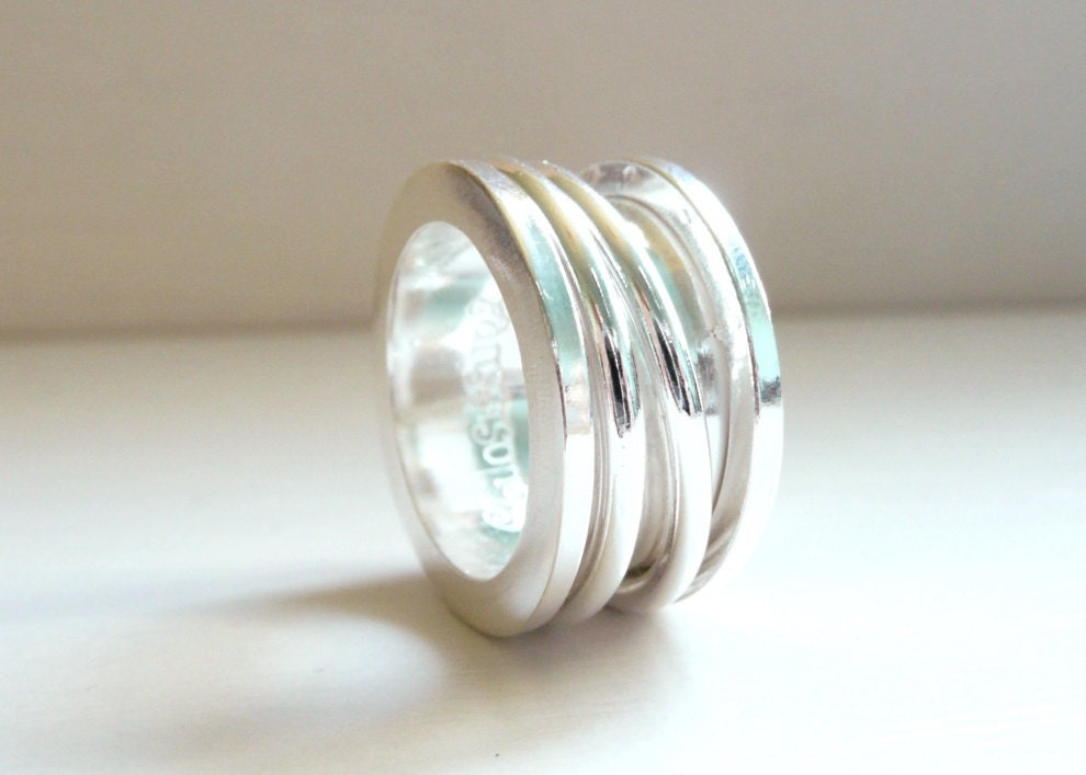 spool ring sterling silver spinner worry ring anxiety ring
