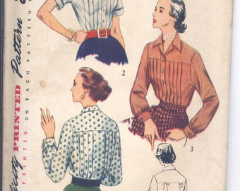 Vintage 50s Pleated Blouse Pattern- Simplicity 3681- Bust 34 Size 16