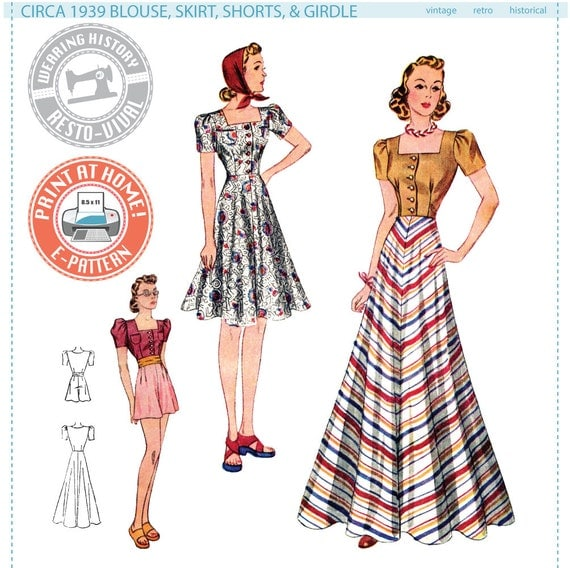 1940s Fabrics and Colors in Fashion 1939 Blouse Skirt Shorts & Girdle- 1930s 1940s- Wearing History PDF Vintage Sewing Pattern $14.00 AT vintagedancer.com