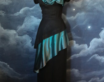 Vintage 1940s Designer Pattullo's Jo Copeland Rayon & Satin Evening Gown - Size Medium