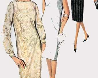 1960s Mod Dress and Slip Simplicity 5490 60s Vintage Sewing Pattern Size 12 Bust 32
