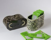Sugar Packet Holder - Sugar Container in Black and White - Handmade in Porcelain Stoneware