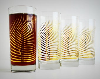 Corporate Gifts, Metallic Gold Fern Glasses - Set of 48 Glasses, Company gifts, Company Holiday Gifts, Gold Ferns, Christmas Decor