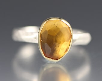 SALE - Rose Cut Citrine Chiseled Ring - Faceted Band