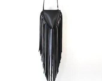 Freya - Fringe Black Leather Shoulder Cross Body Bag Handmade AW16