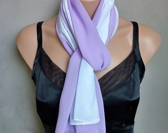 Two Chiffon Scarves for Layering - One Lavender Scarf and One White Scarf