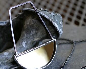 mirror necklace rustic copper necklace crescent pendant simple modern necklace statement necklace gunmetal chain necklace MIRROR PENDULUM