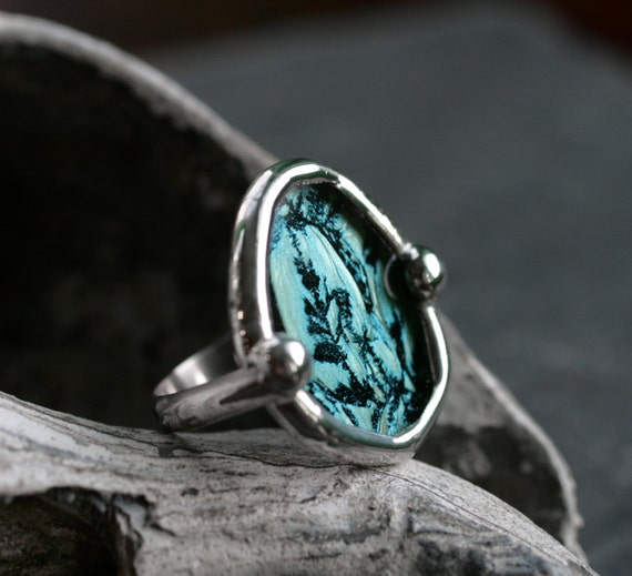 turquoise ring stained glass ring big cocktail ring large boho ring big round ring aqua teal blue glass ring BLUE LAGOON RING- size 5.5