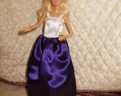 Barbie Doll Clothes, Handmade Barbie Clothes, Purple, white, Long dress, Formal dress, Satin dress