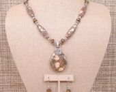 Choctaw - OOAK Native Mica Jasper, Bronzite and Sterling Silver Silver Necklace with Pendant and Earrings.